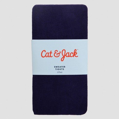 Girls' Footed Cotton Tights - Cat & Jack™ Navy - image 1 of 2