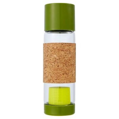 Full Circle Tea Time Travel Bottle 19oz Glass - Green