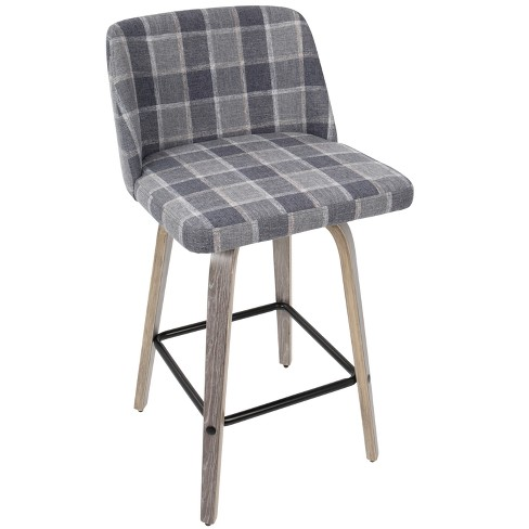 Toriano Mid Century Modern Counter Stool - Blue Plaid - Lumisource - image 1 of 7