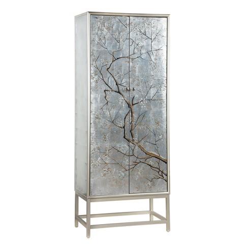 2 Door Silver Mist Modern Tall Wine Cabinet Silver - Treasure Trove - image 1 of 4