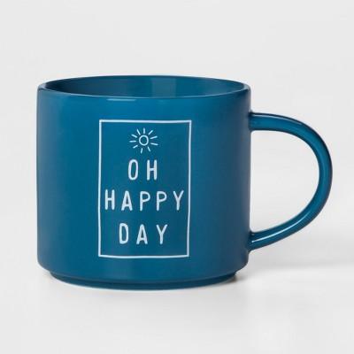16oz Porcelain Oh Happy Day Mug Blue - Threshold™