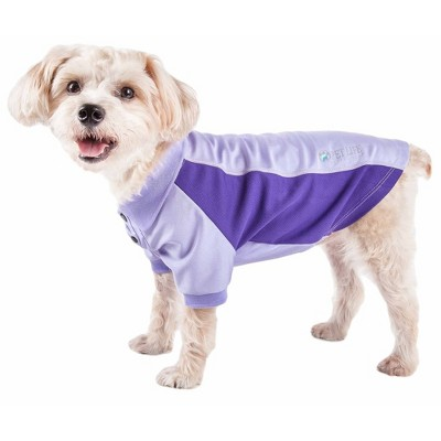 Pet Life Active Barko Pawlo Relax-Stretch Wick-Proof Dog and Cat Polo T-Shirt - Purple - XS