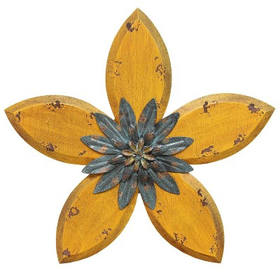 "14.75"" x 13.98"" Antique Flower Wall Decor Yellow/Teal - Stratton Home Décor"