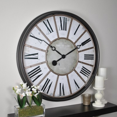 "29"" Roman Farmhouse Wall Clock Oil Rubbed Bronze - FirsTime & Co."