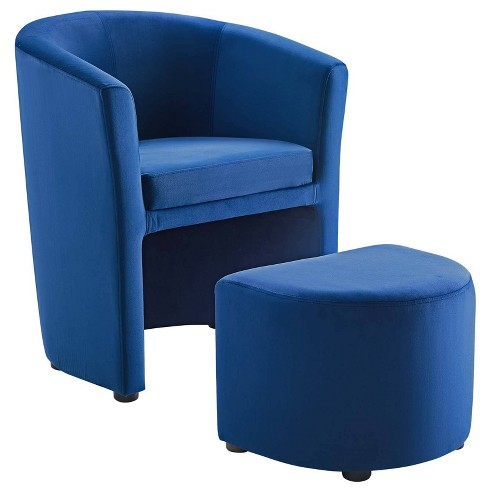 Divulge Performance Velvet Arm Chair And Ottoman Set Navy Modway