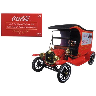 """1917 Ford Model T Cargo Van """"Coca-Cola"""" Red 1/18 Diecast Model Car by Motorcity Classics"""