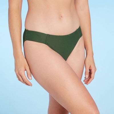 Women's Soft Ribbed Tab Modern Coverage Hipster Bikini Bottom - Kona Sol™ Dark Green