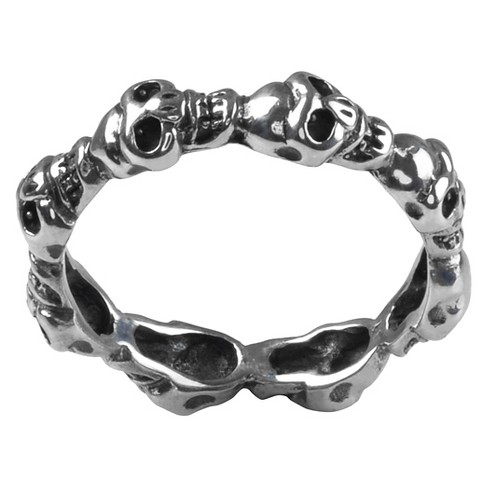 Women's Journee Collection Slender Band Skull Ring in Sterling Silver - image 1 of 2