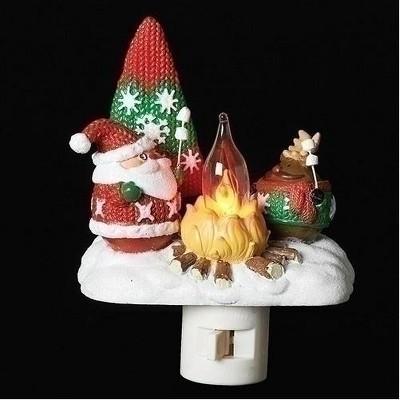 "Roman 4"" Santa and Reindeer Roasting Marshmallows around the Camp Fire Holiday Night Light"