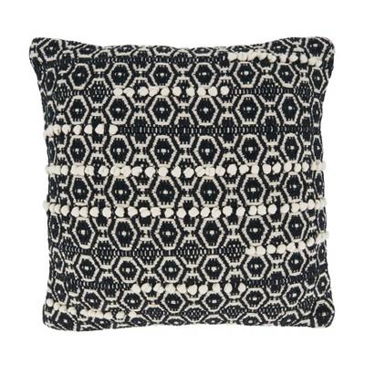 """18""""x18"""" Poly-Filled Moroccan Design Square Throw Pillow Black/White - Saro Lifestyle"""