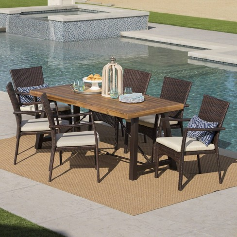 Laguna 7pc Acacia Wood/Wicker Patio Dining Set - Brown/Cream - Christopher Knight Home - image 1 of 4