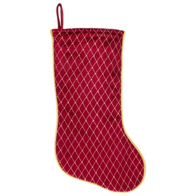 """Northlight 20"""" Red and Gold Diamond Pattern Christmas Stocking"""