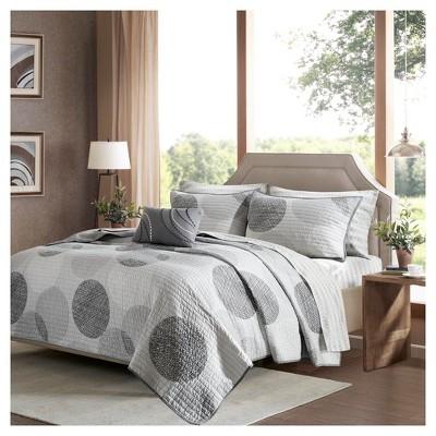 Gray Cabrillo Printed Quilt Set (California King)8pc