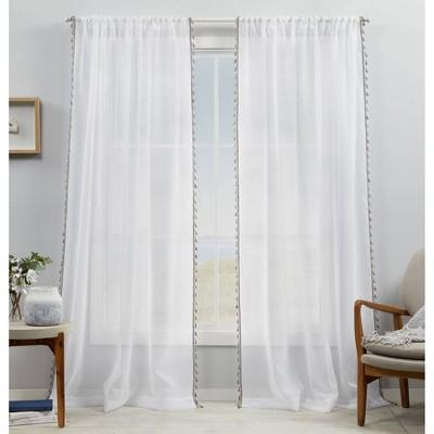 Set of 2 Tassels Sheer Rod Pocket Window Curtain Panel - Exclusive Home