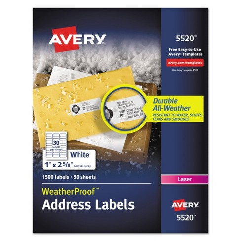 Avery® 1 x 2-5/8 Weatherproof Laser Shipping Labels - White (1500 pk) - image 1 of 6