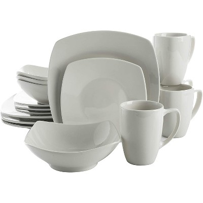 Gibson Home 102539.16RM Classic Porcelain Zen Buffet 16 Piece Square Dinnerware Set with Multi Sized Plates, Bowls, and Mugs, White
