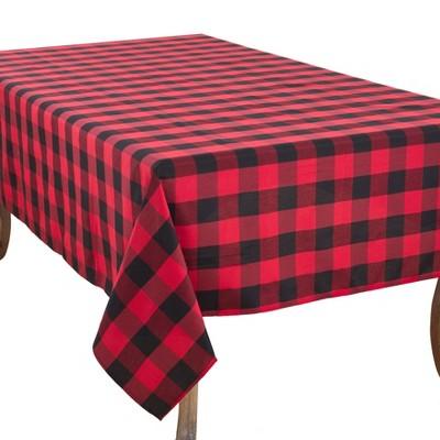 "104""x70"" Buffalo Plaid Tablecloth Red/Black - Saro Lifestyle"