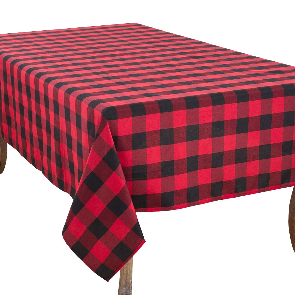 "Image of ""104""""x70"""" Buffalo Plaid Tablecloth Red/Black - Saro Lifestyle, Size: 104""""x70"""""""