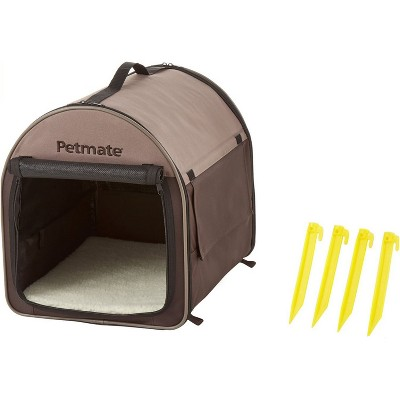 Petmate Indoor & Outdoor 26 Inch Medium Soft Sided Portable Travel Pet Home Carrier For Toy Breed Dogs, Cats, Rabbits, & Small Animals, Taupe & Brown
