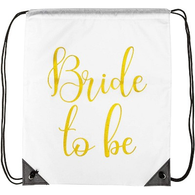 12-Pack Bridesmaid Drawstring Bags for Bride to Be, Bridesmaids, Bridal Shower Gift Bags & Wedding Party Favors, 16.6 x 14 inches
