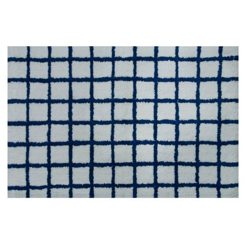 Grid Bath Rug White Blue Project 62 Target