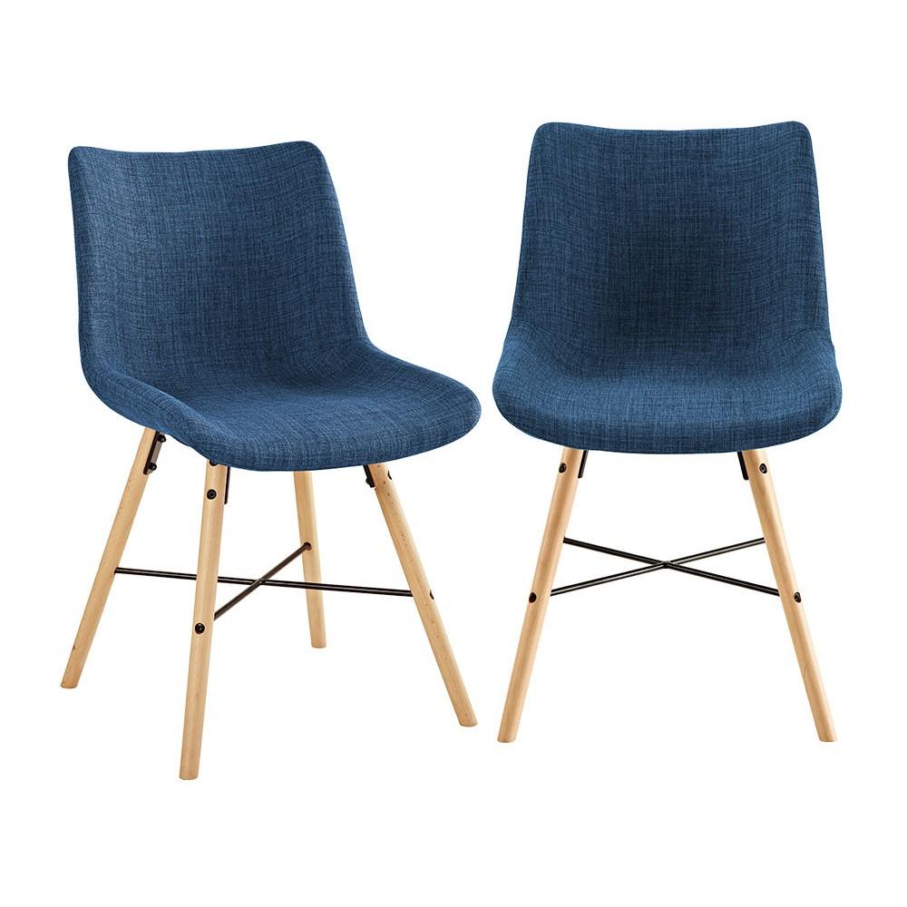 Upholstered Linen Side Chair, Set of 2 Blue - Saracina Home
