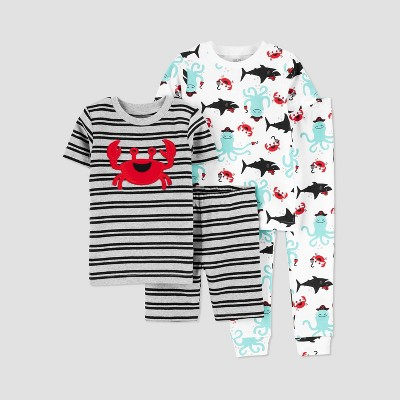 Baby Boys' 4pc Crab/Octopus Pajama Set - Just One You® made by carter's Gray 9M
