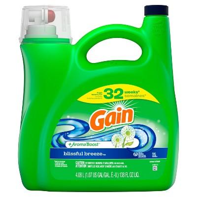 Gain + Aroma Boost Blissful Breeze Scent HE Compatible Liquid Laundry Detergent - 138 fl oz