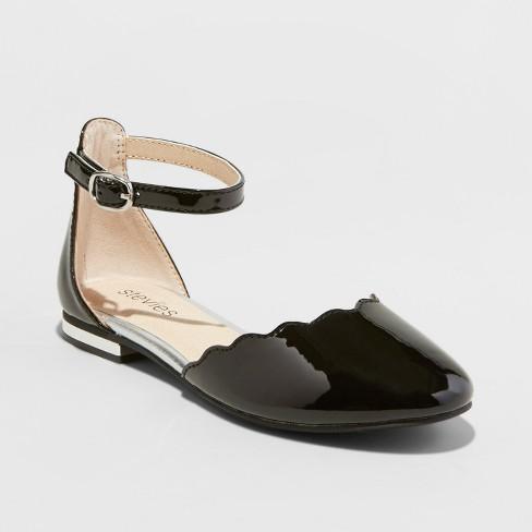 0cb61ebd782d Girls  Stevies  PIZZAZZ Dressy Ankle Strap Ballet Flats - Black