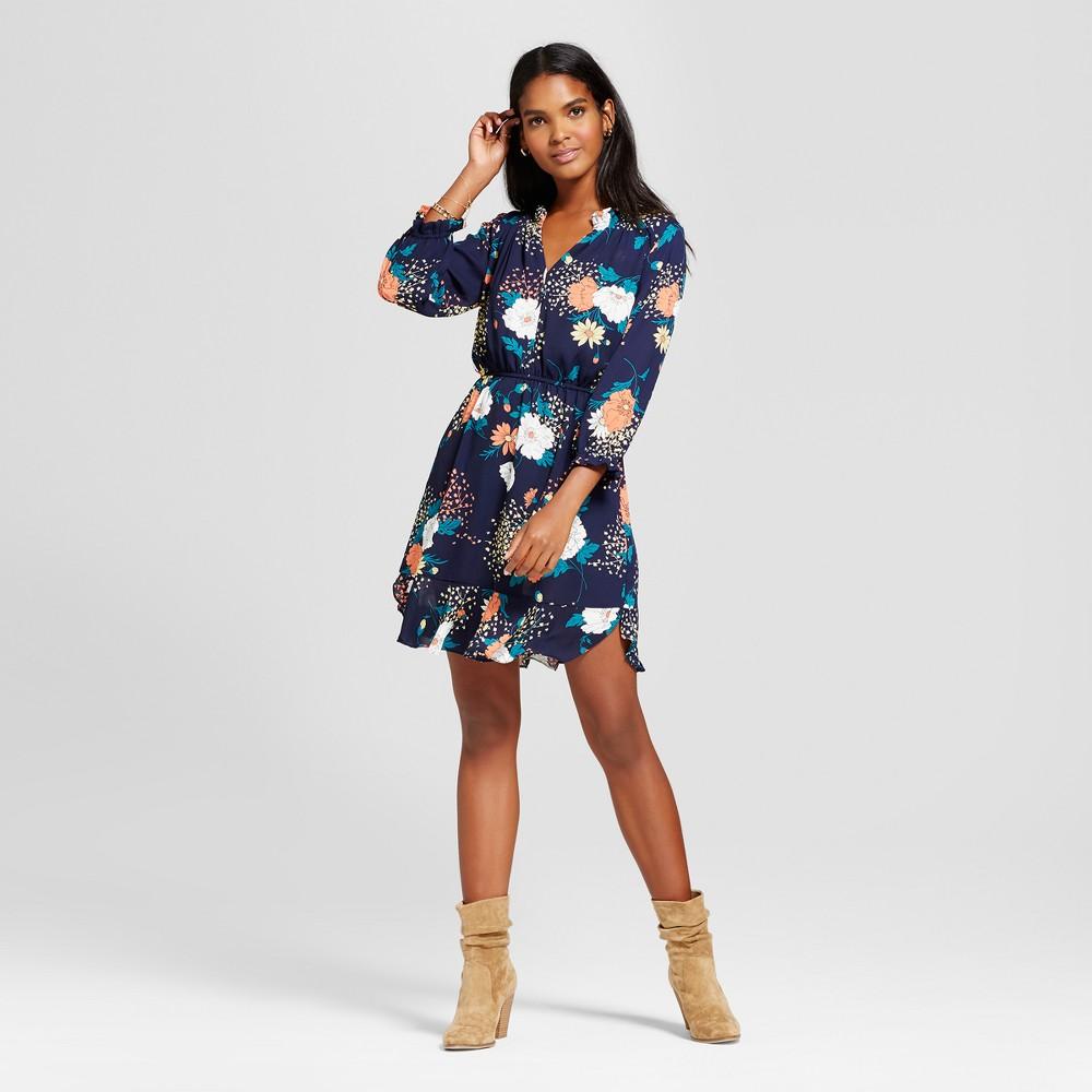 Women's Floral Ruffle Hem Dress - Éclair Navy S, Blue