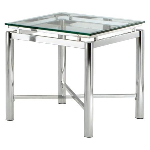 Nova End Table Chrome And Glass Steve Silver Target