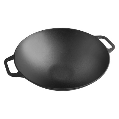 Victoria Cast Iron Wok with Stability Base 14  Black