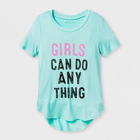 Grayson Social Girls' Girls Can Do Anything Graphic Short Sleeve T-Shirt - Green - image 1 of 1