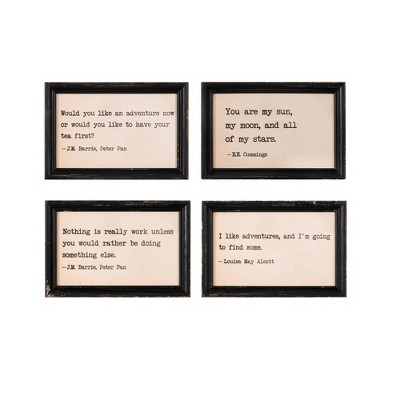 (Set of 4 Sayings)Adventure Sayings in Distressed Frames Decorative Wall Art - Creative Co-Op