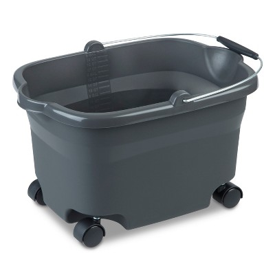 Sterilite Wheeled Bucket Flat Gray 20 Qt