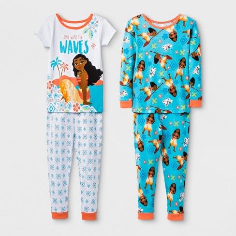 ace3aaf0ca44 Toddler Girls  Moana 4pc Cotton Pajama Set - White   Target