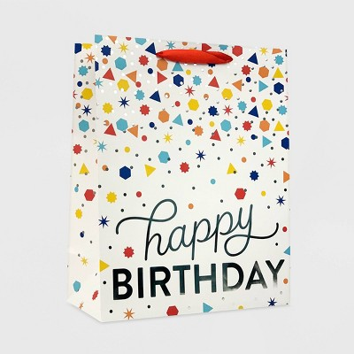 """Happy Birthday"" Confetti Medium Gift Bag White - Spritz™"