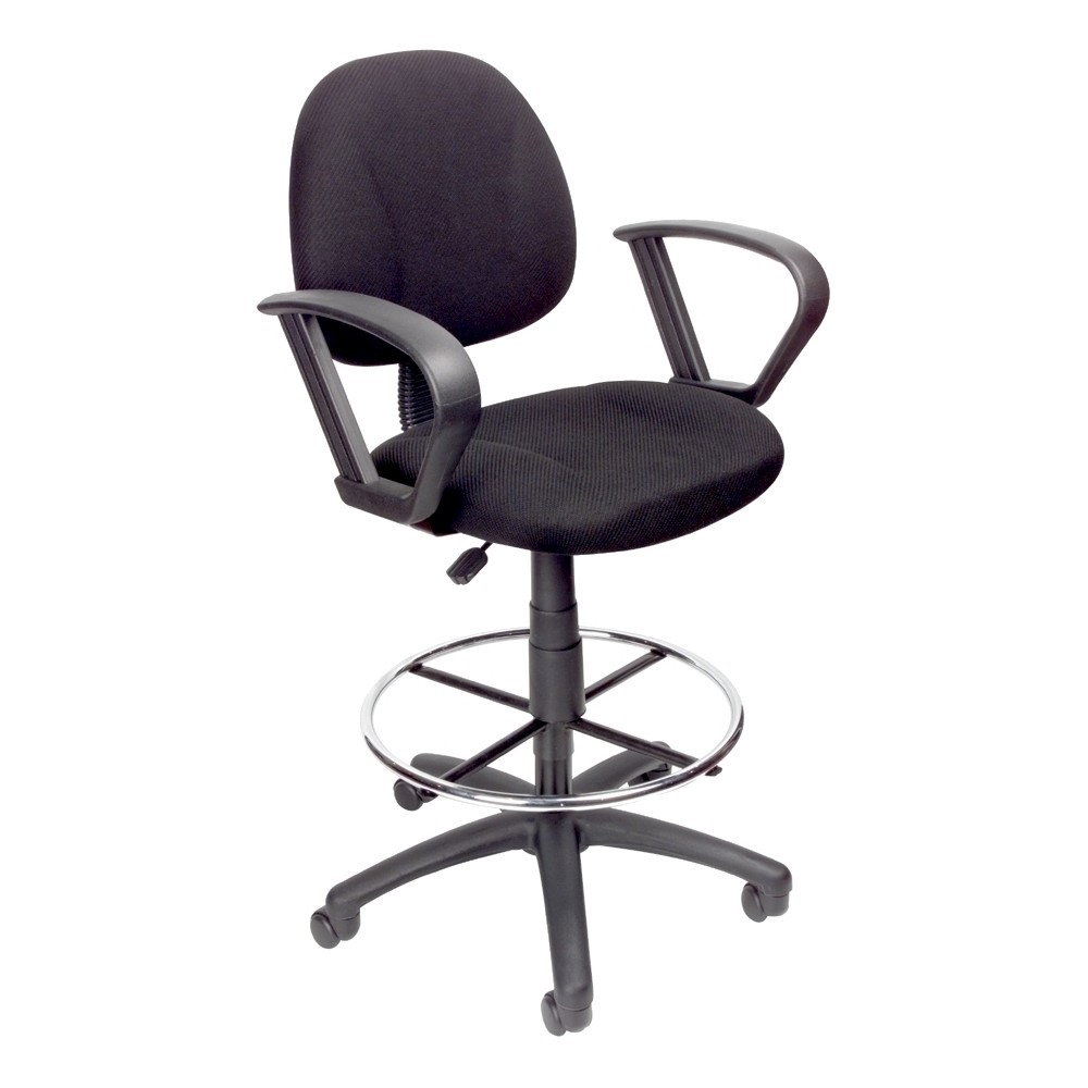 Drafting Stool with Footring And Loop Arms Black - Boss Office Products