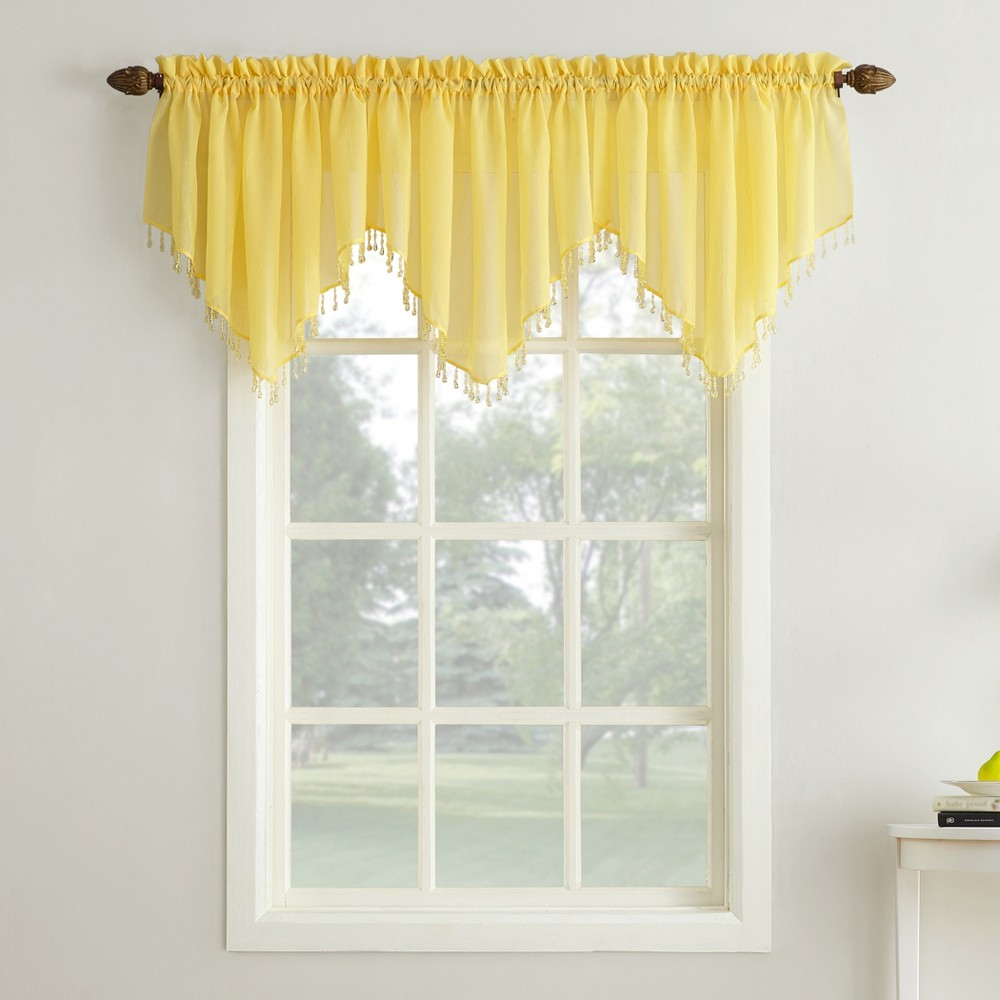 Erica Crushed Sheer Voile Beaded Ascot Curtain Valance Ye...