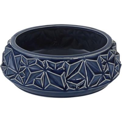 """Studio 55D Telus 9 1/4"""" Wide Dark Blue Ceramic Bowl"""