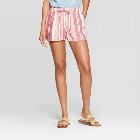 Women's Striped Mid-Rise Pull On Shorts - Universal Thread™ Pink - image 1 of 10