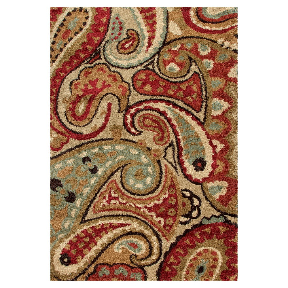 Red Abstract Woven Area Rug - (7'10