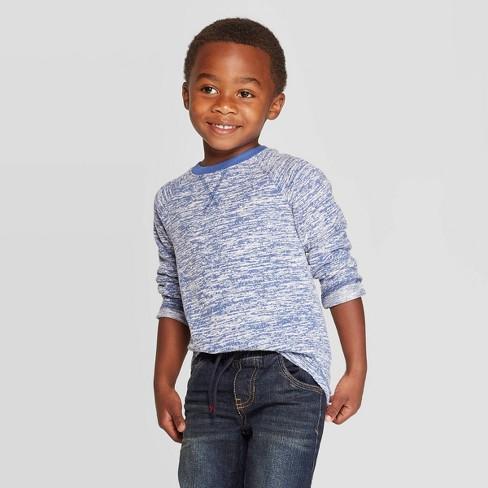 Toddler Boys' Brushed Jersey Knit Long Sleeve T-Shirt - Cat & Jack™ Blue - image 1 of 3