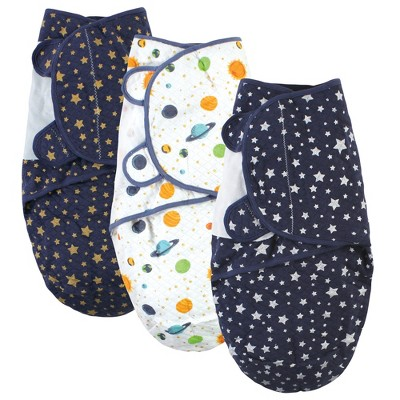 Hudson Baby Unisex Baby Quilted Cotton Swaddle Wrap 3pk, Metallic Stars, 0-3 Months
