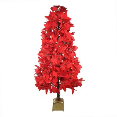 Northlight 4' Prelit Artificial Christmas Tree Fiber Optic Color Changing Red Poinsettia
