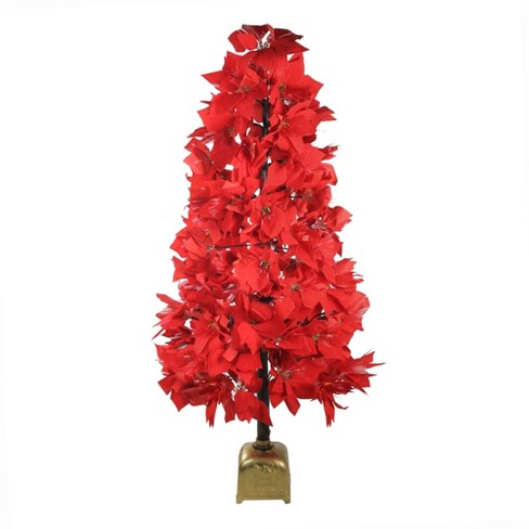 Northlight 4' Prelit Artificial Christmas Tree Fiber Optic Color Changing Red Poinsettia - image 1 of 4