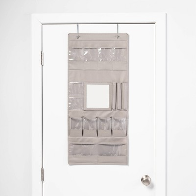 Jewelry Organizer with Mirror Gray 600D Polyester with PVC Coating  - Room Essentials™