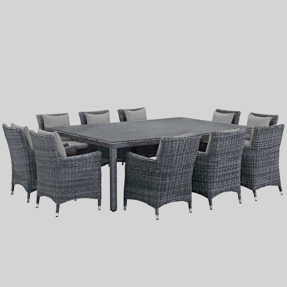 Summon 11pc Outdoor Dining Set with Sunbrella Fabric - Gray - Modway