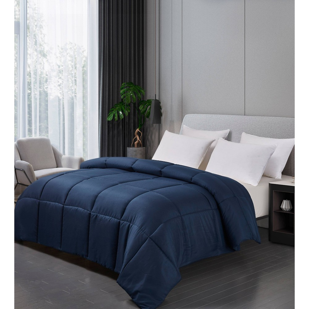 Image of Microfiber Down Alternative Comforter (Twin) Navy, Blue