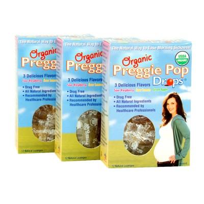 Three Lollies Organic Preggie Pop Drops for Morning Sickness Relief Lozenges - Sour Raspberry, Sour Lemon & Green Apple - 12ct/3pk